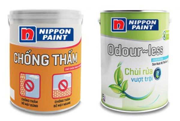 Những bộ đôi sơn chống thấm và sơn dễ lau chùi của hãng Nippon
